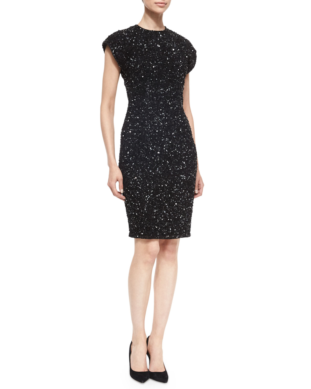 Sequin Cocktail Sheath Dress, Black