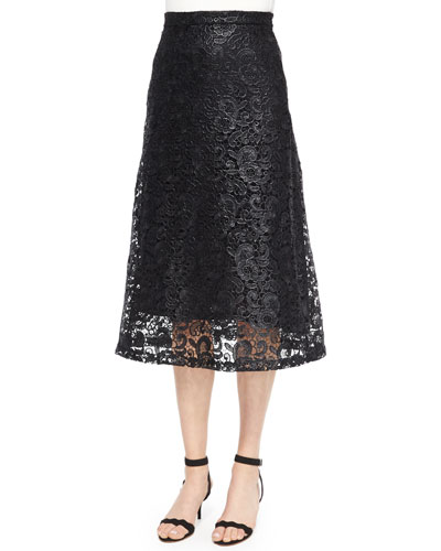 Kennedy Coated Lace Skirt, Black