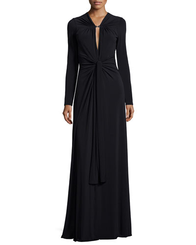 Long-Sleeve Keyhole-Neck Jersey Gown