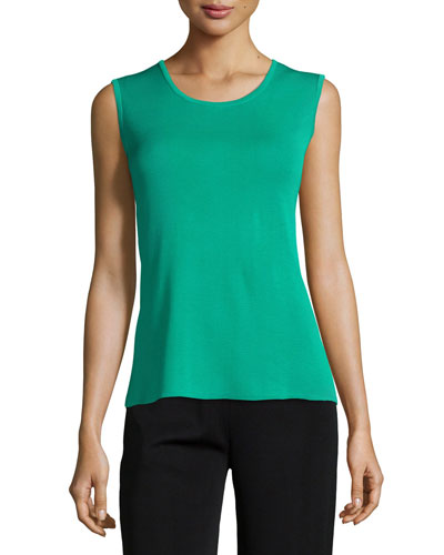 Scoop-Neck Knit Tank, Jade, Petite