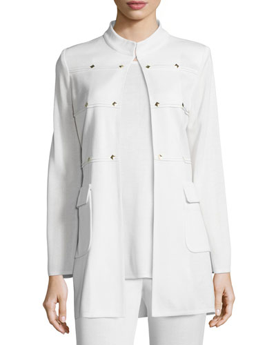 Studded Long Jacket, Cream, Plus Size