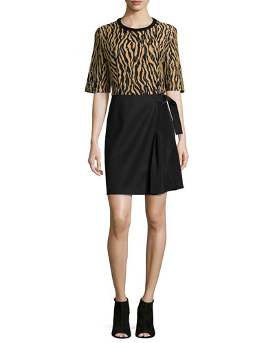 Tiger-Print Combo Wrap Dress, Camel/Black