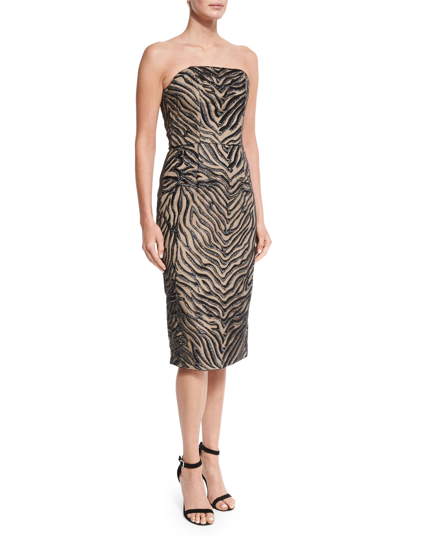 Strapless Animal-Print Sheath Dress, Zebra