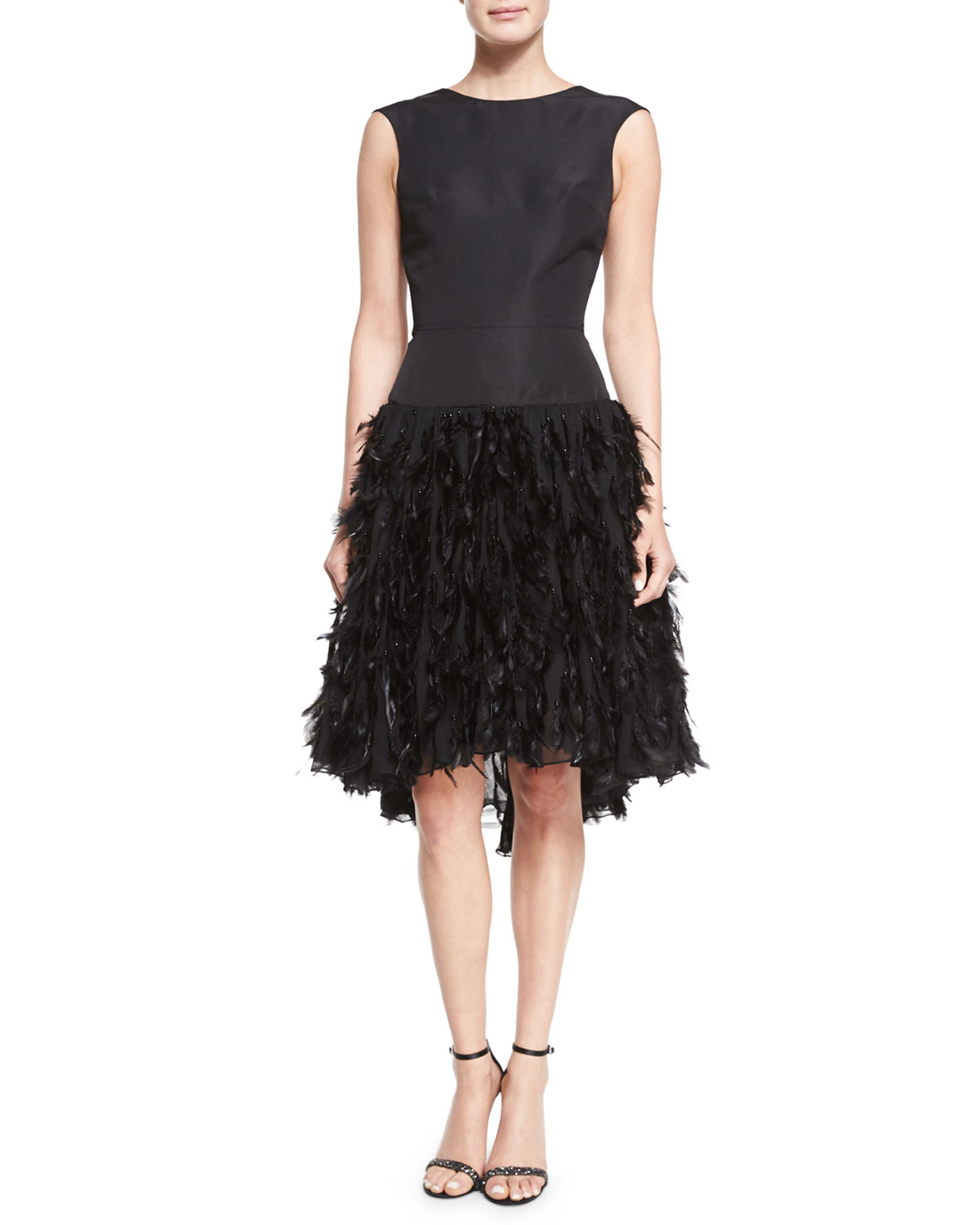 Sleeveless Feather-Appliqué Cocktail Dress, Black