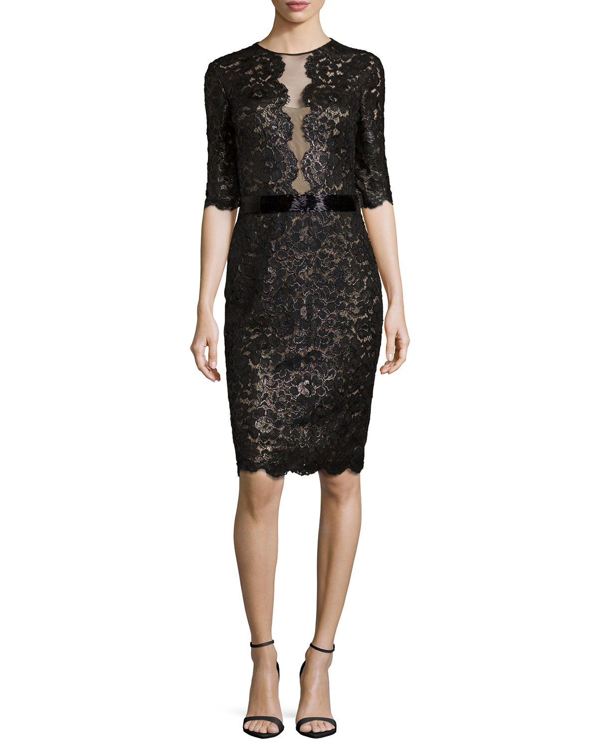 3/4-Sleeve Lace Cocktail Dress, Black