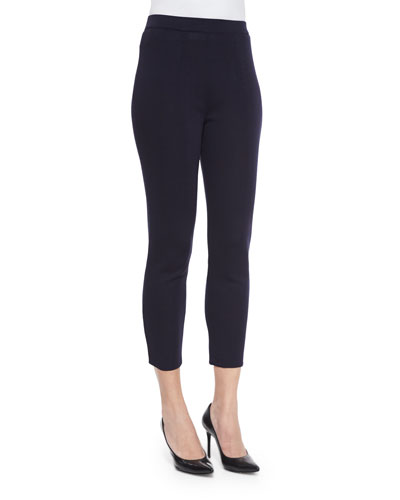 Slim Cropped Ankle Pants, Navy, Plus Size