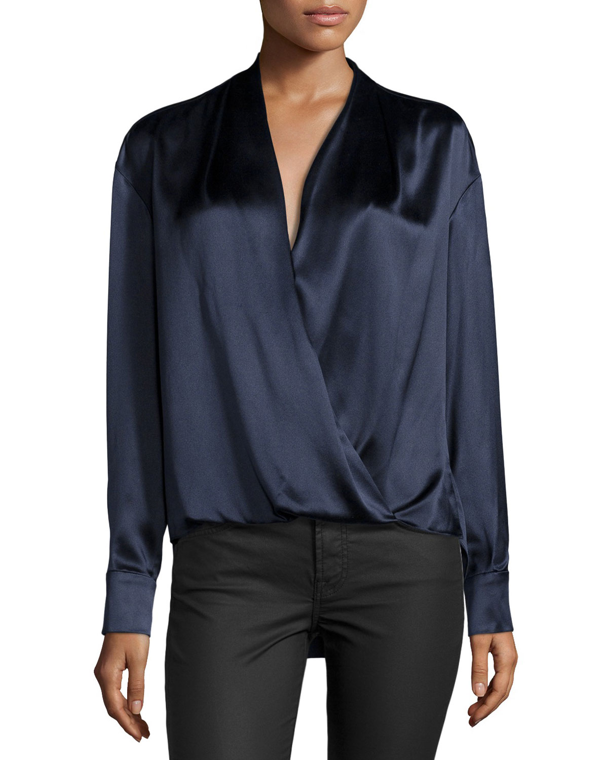 Long-Sleeve Wrap Blouse, Midnight