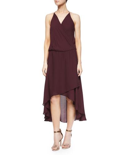 Halter Faux-Wrap High-Low Dress