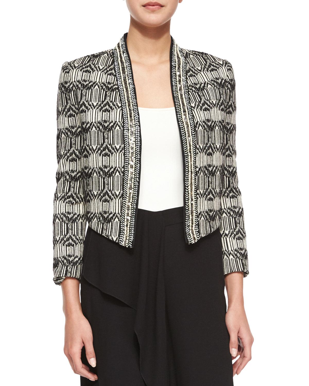 Tribal-Print Chevron-Embellished Jacket, Swan/Black