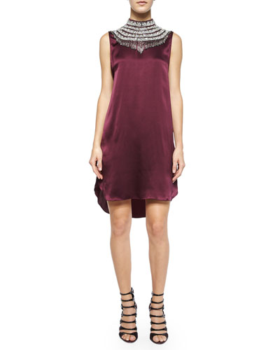Embellished-Neck Silk Shift Dress, Fig