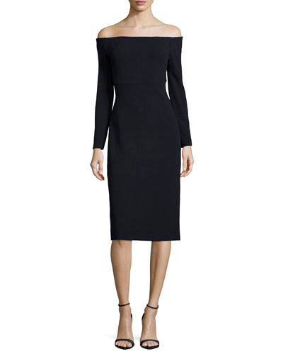 Long-Sleeve Off-the-Shoulder Sheath Dress, Black
