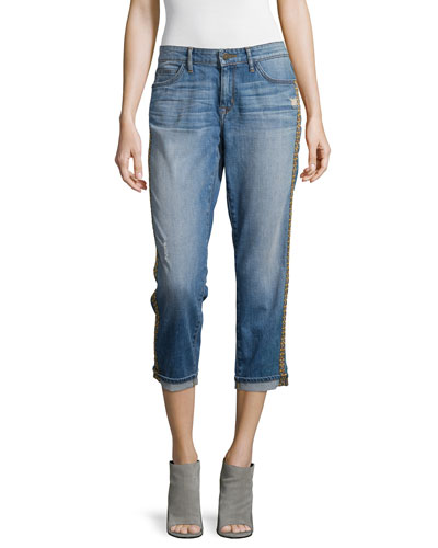 Powerful Relaxed Cropped Boyfriend Jeans, Hunt