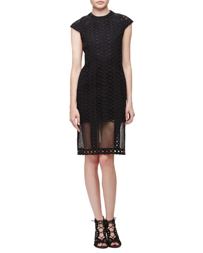 Cap-Sleeve Tread-Lace Sheath Dress, Black