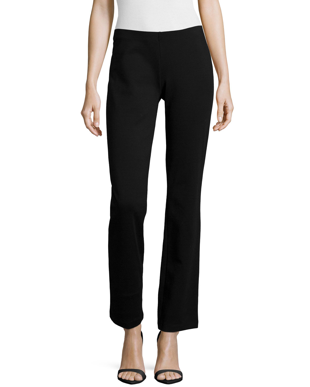 Boot-Cut Ponte Pants, Black