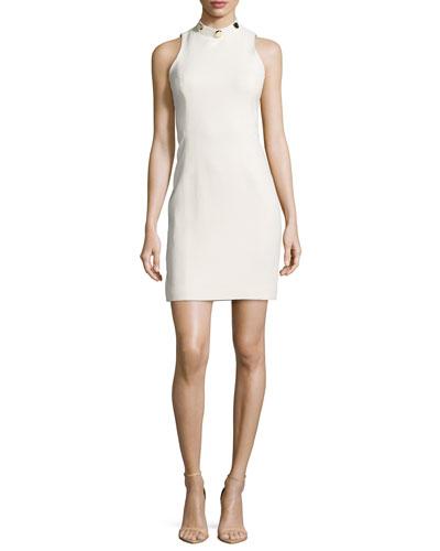 Crystal Studded Mock-Neck Dress, White