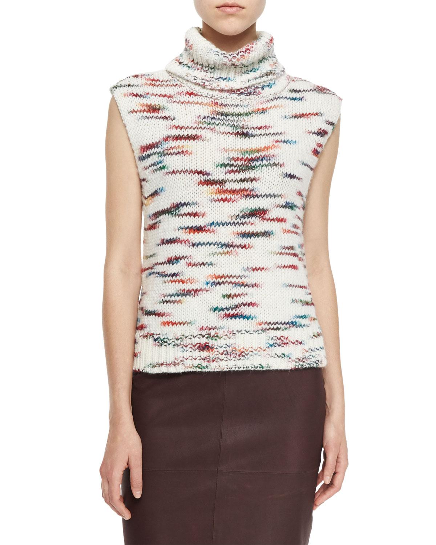Sleeveless Turtleneck Sweater, Ivory