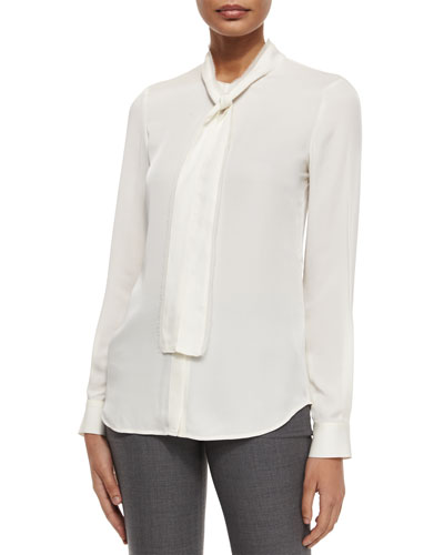 Raashida Long-Sleeve Blouse, Ivory