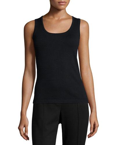Solid Knit Tank, Black, Plus Size