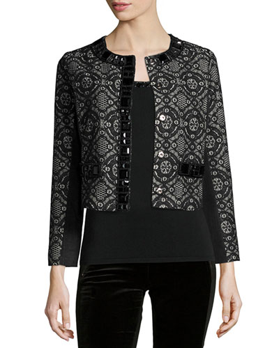 Dressy Cropped Jacket W/ Stone Trim, Plus Size