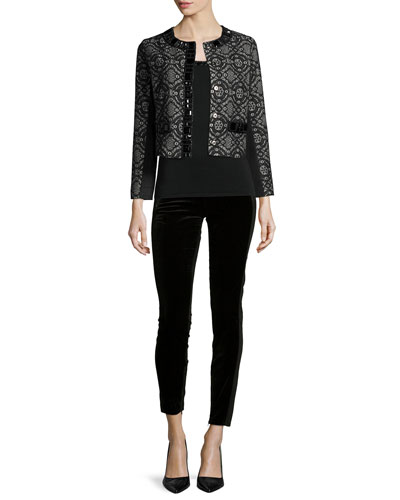 Dressy Cropped Jacket W/ Stone Trim