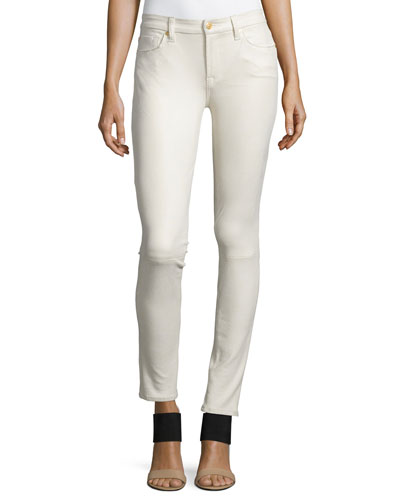Faux-Leather Seamed Skinny Pants, Winter White