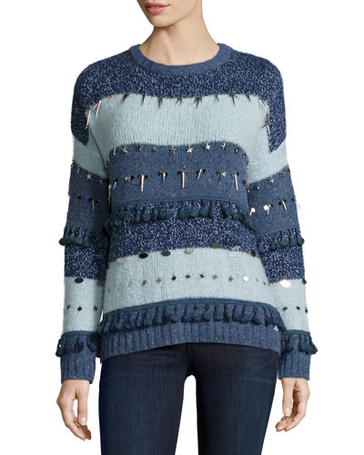 Trinket Embellished Stripe Sweater, Mixed Blues