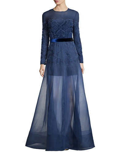 Long-Sleeve Embellished Gown w/Organza Overlay Skirt, Nightfall