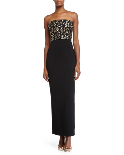 Strapless Embellished-Bodice Gown, Black