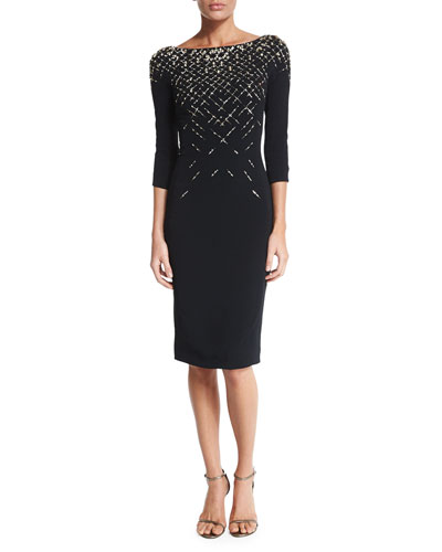3/4-Sleeve Embellished Cocktail Dress