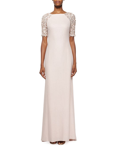 Beaded-Sleeve Mermaid Gown, Blush