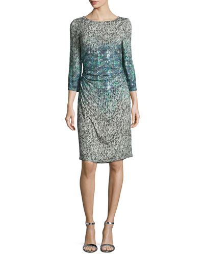 3/4-Sleeve Printed Sheath Dress, Gray Multi