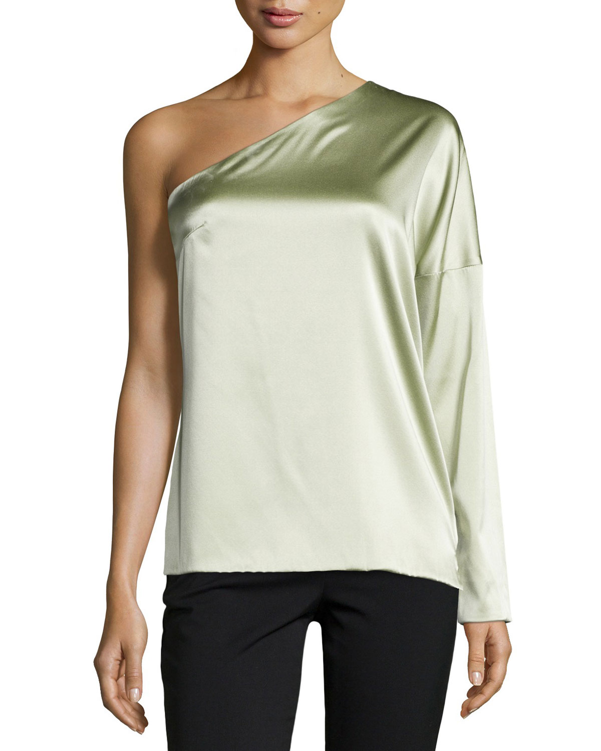 One-Sleeve Charmeuse Top, Celadon