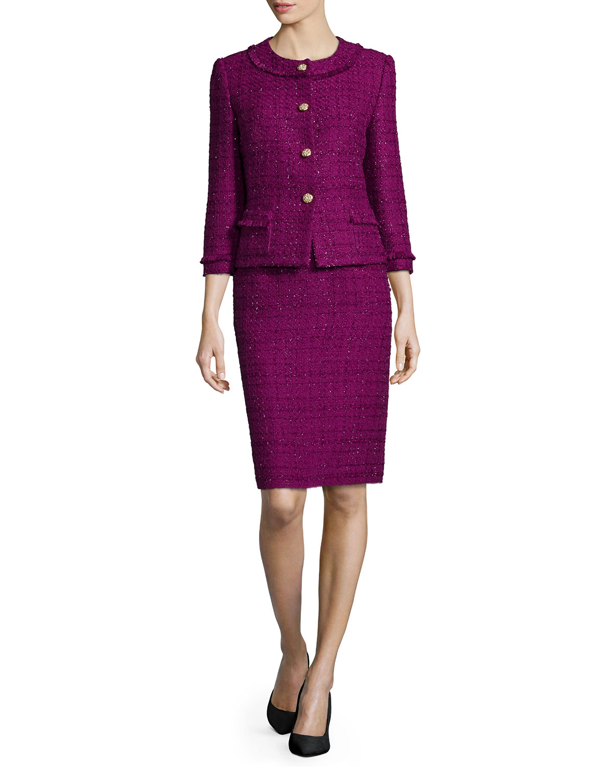 Button-Front Tweed Skirt Suit