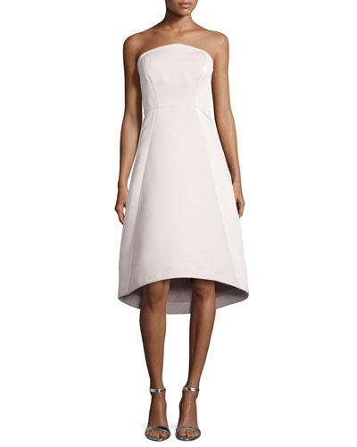Strapless High-Low Cocktail Dress, Buff
