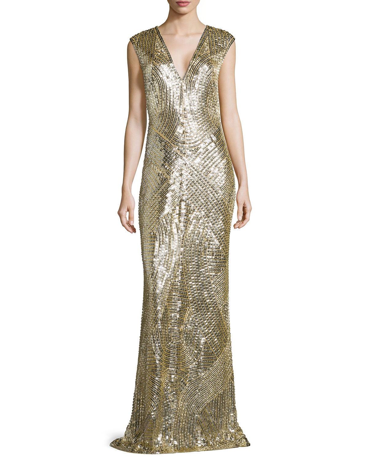 Gladiator Cap-Sleeve Sequin Gown, Gold