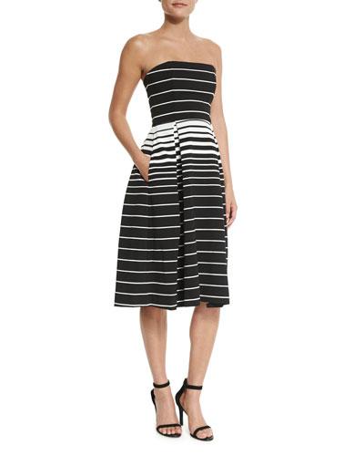 Corsica Multi-Stripe Ball Dress, Black/White