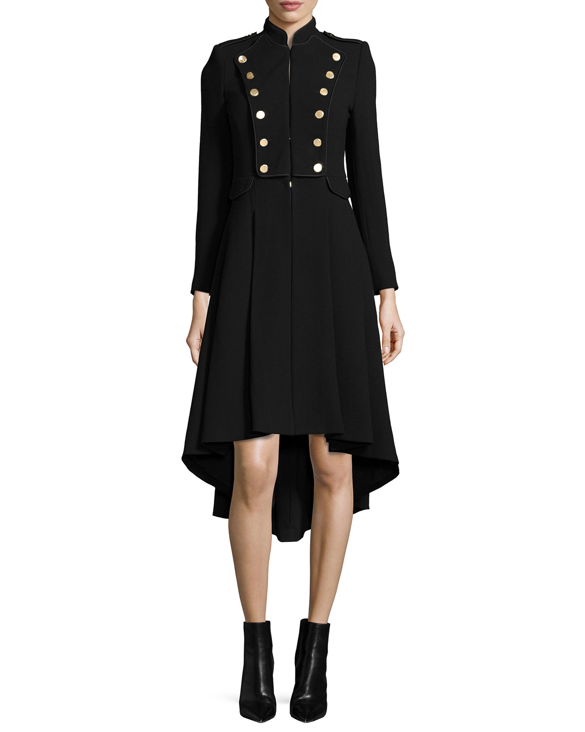Rossi Long-Sleeve Military-Style Coat, Black