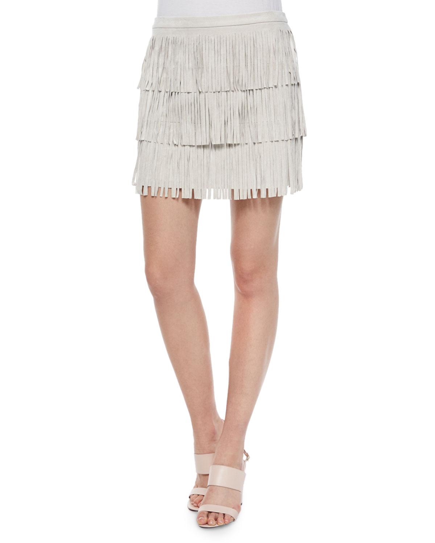 Lotti Tiered Fringe Skirt, Tan