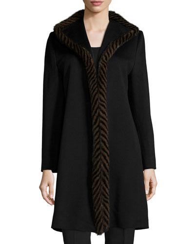 Piped Mink-Trim Wool Coat