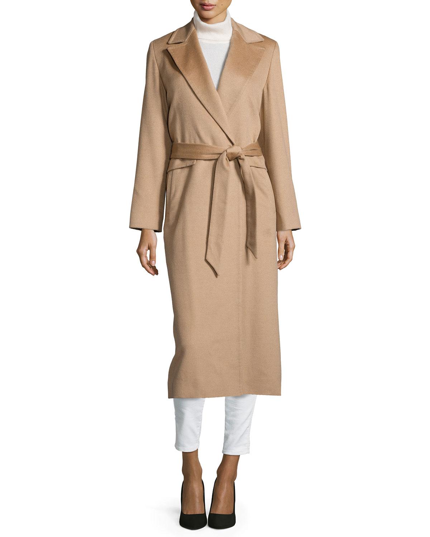 Long Wrap Camel-Hair Coat