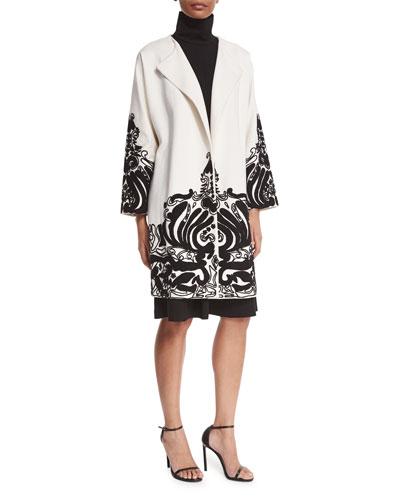 Long-Sleeve Embellished Topper Coat, Ecru