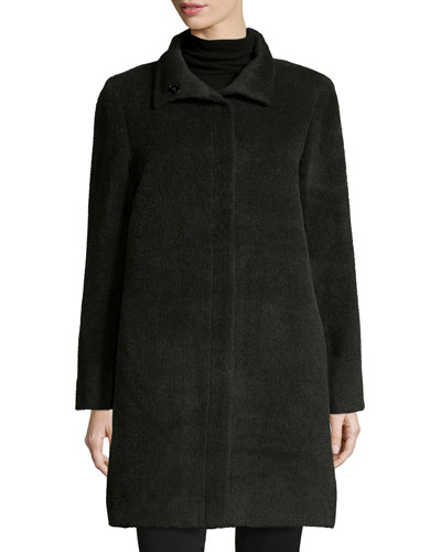 Funnel-Neck Single-Breasted Wool-Blend Coat