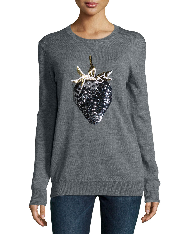 Strawberry Sequined Sweater, Medium Gray