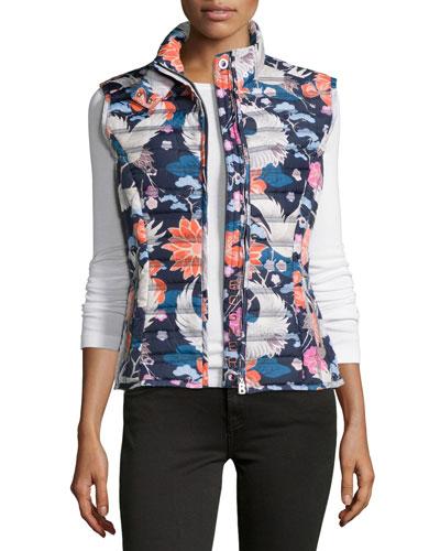 Mia Floral/Crane-Print Quilted Vest