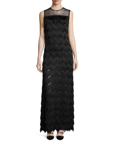 Ethel Sleeveless Chevron-Fringe Gown, Black