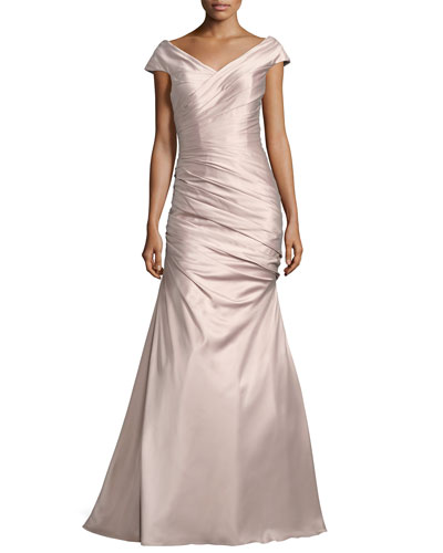 Sleeveless Ruched Satin Gown, Champagne