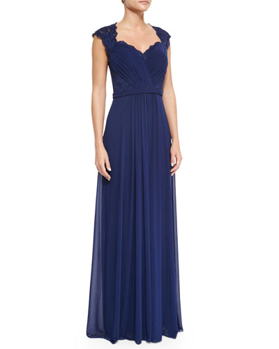 Belted Lace & Chiffon Gown, Navy