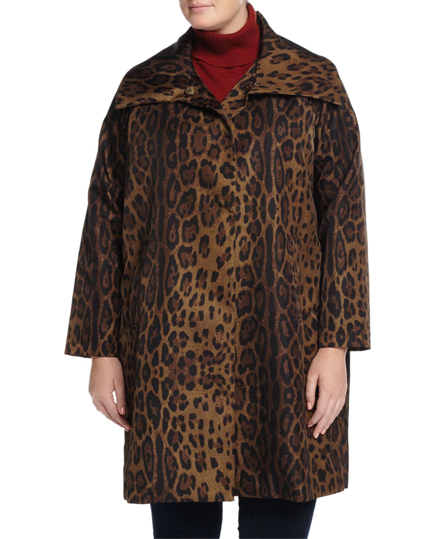 Oversized-Collar Snap-Front Coat, Custom Leopard, Women's