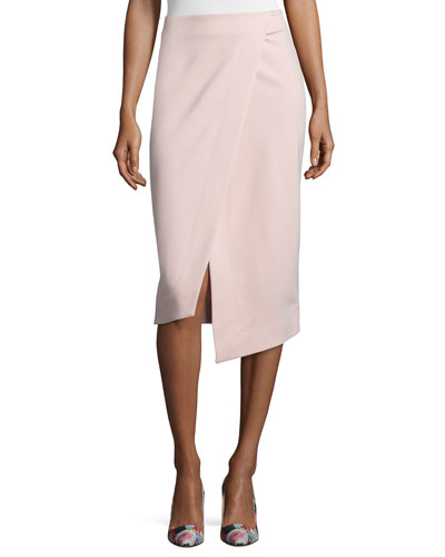 Ponte Wrap-Front Pencil Skirt, Nude
