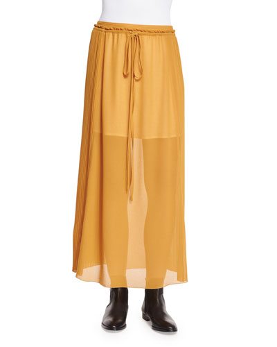 Pleated Georgette Drawstring Skirt, Gold